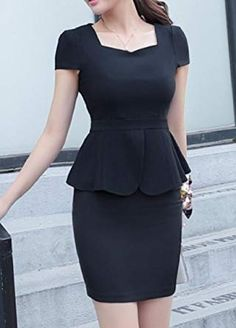 NestYu Womens Regular Fit Pure Color Peplum Skirt Jacket 2 Pc Suit Black S * You can find more details by visiting the image link. (This is an affiliate link) Casual Work Dresses, Elegant Dresses, Dresses For Work, Sexy Dresses, Summer Dresses, Formal Dresses, Wedding Dresses, Pretty Dresses, Official Dresses