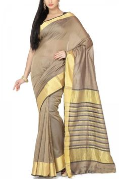 Ash Gray & Gold Zari Cotton Silk Maheshwari Saree