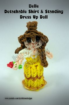 Rainbow Loom Princess Belle Charm/Action Figure - Detachable Skirt and Stand Alone Dress Up Doll tutorial by Izzalicious Designs