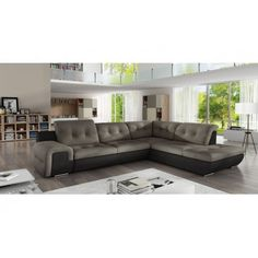 Latitude Run Timms Left Hand Facing Sleeper Sectional Orientation: Right Hand Facing, Upholstery Color: White/Gray Sectional Sleeper Sofa, Grey Sectional, Corner Sectional, Chaise Sofa, Fold Out Beds, How To Make Bed, Living Spaces, Living Rooms, Living Area