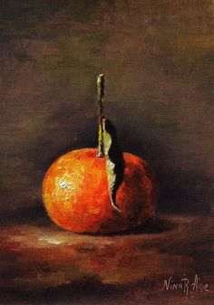 Original Oil Painting of Clementine by Nina by NinaRAideStudio #oil painting#still life#clementine#