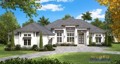 This single story, West Indies house plan provides just over 4,000 square feet of living space with four bedrooms, four full baths, one pool bath, formal living and dining areas and a handsome study. Enjoying the tropical weather is easy with the thoughtfully designed outdoor living areas featured in this home plan. A vaulted ceiling in a tongue and groove finish and a built-in fire pit along with space for multiple seating arrangements create a welcoming space for entertaining friends and…