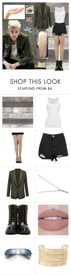 """""""Kim Nam Joon"""" by bulletproof-wolfie on Polyvore featuring American Vintage, Boohoo, Theory, LØMO, Moncler, Ray-Ban and Charlotte Russe"""