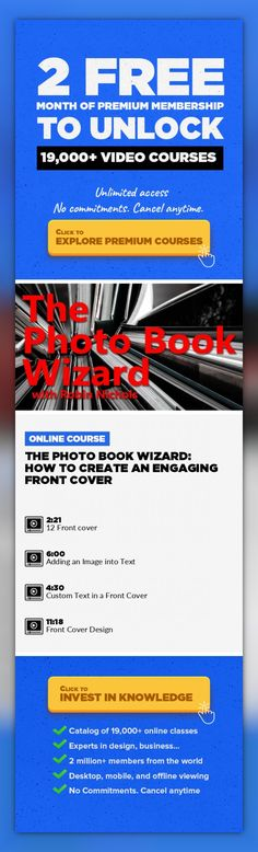 The Photo Book Wizard: How to Create an Engaging Front Cover Photography, Adobe Photoshop, Creative, Book Design, Adobe Photoshop Elements #onlinecourses #onlineeducationlearning #onlinelearningeducation   The front cover of any book is very important. If it's not interesting, exciting, mystifying or engaging, your potential audience might not even bother to open it to look. Designing the cover, f...