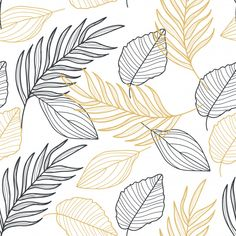 Palm leaves gold line hand drawn seamless pattern Premium Vector Line Patterns, Textures Patterns, Design Poster, Logo Design, Nagel Stamping, Rose Gold Texture, Leaf Drawing, Drawing Art, Paint Background