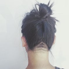 feeling a little naughty? my first attempt at a patterned, undercut nape. #theyoungamerican #oldtowntustin #topknot #undercut #nape #texture #womenshair #taper #chevron #womenshairstyle #naughty
