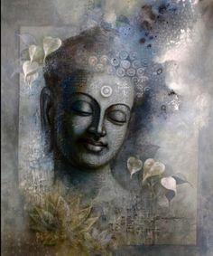 Buddha Artwork, Buddha Wall Art, Buddha Zen, Buddha Buddhism, Buddha Face, Buddhist Art, Buddha Garden, Budha Painting, Art Asiatique