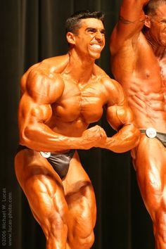 Love this pic...taken back in 2005 at the All South Bodybuilding Championships. While some of the judges felt that I needed more conditioning (a true statement considering the sport standards) this competition shape is my all time favorite :) Weight = 185 lbs on stage (84 kilos). www.hugorivera.net