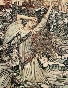 """Arthur Rackham """"Undine"""" (1909) """"Soon she was lost to sight in the Danube"""" (detail)"""