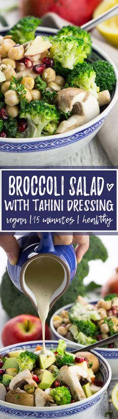 This broccoli salad with mushrooms is easy to make, super delicious, and most of all incredibly healthy! It's best with a creamy tahini dressing! <3 | veganheaven.org