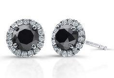 1 Carat Black & White Diamond Sterling Silver Halo Earrings
