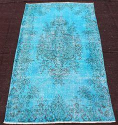 USD 260.00   6x4 overdyed rug, turquoise color rug, Traditional Handmade Anatolian Wool Carpet