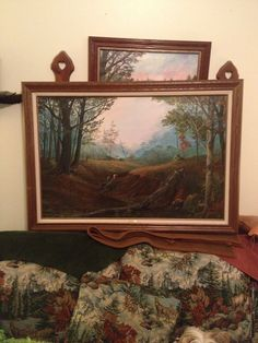 Cecil Savage, well known local artist painting of wild turkeys in the Ozarks. I bought this for my son.