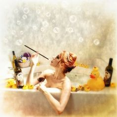 Rubadubdub is a photographic print of a socialite having a bath while... ($17) ❤ liked on Polyvore featuring home, home decor, wall art, red wall art, red home decor, photo wall art, white wall art and photographic wall art