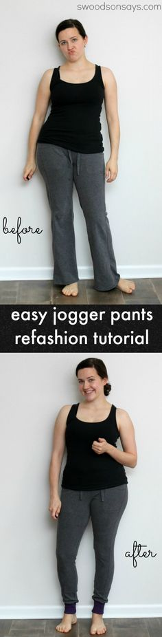 An easy pants refashion tutorial, taking bootcut pants into skinny jogger pants. Swoodsonsays.com