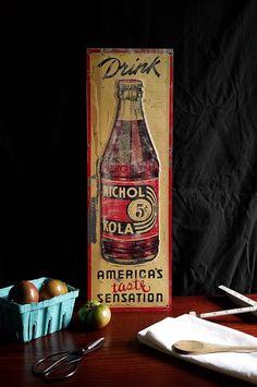 1936 Nichols Kola Sign - Perfect for the Modern Rustic Farmhouse Kitchen