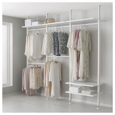 IKEA - ELVARLI, 3 elements, This open storage combination can be easily . - Ikea DIY - The best IKEA hacks all in one place Elvarli Ikea, Ikea Algot, Ikea Dorm, Closet Storage, Bedroom Storage, Closet Organization, Wardrobe Storage, Open Clothes Storage, Dorm Storage