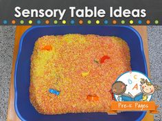 Sensory table ideas, activities and resources for young children in the preschool, pre-k, and kindergarten classroom.