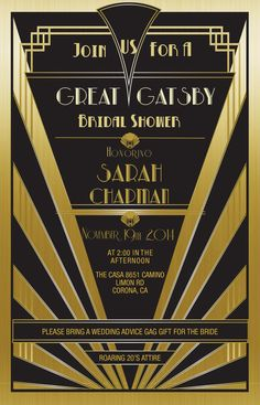 Great Gatsby Invitation Gold - Set of 25 | Bridal Shower | Hen's Night | Bachelorette Party | Birthday Invitation