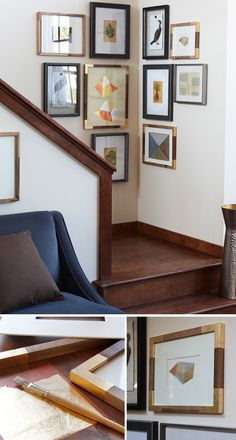Apply a bit of glue & adhere gold-leaf foil to regular frames for an elegant look.