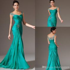 Wholesale Best Selling Mermaid V-neck Floor Length Turquoise Chiffon Cap Sleeve Prom Dresses Beaded Pleats Discount Prom Gowns Formal Evening Dresses, Free shipping, $101.98/Piece | DHgate Mobile