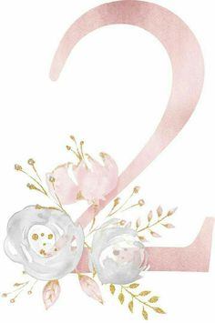 Number with flowers idea Watercolor Lettering, Floral Watercolor, Wallpaper Backgrounds, Iphone Wallpaper, Baby Art, Flower Frame, Letters And Numbers, Diy And Crafts, Clip Art