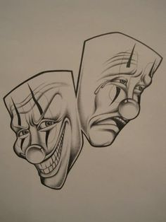 Sad And Happy Clown Faces Tattoo Designs