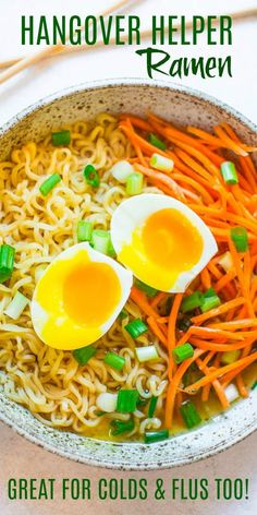 Hangover Helper Ramen – The next time one drink turns into wayyyyy more than it should have, this EASY ramen bowl that's ready in 10 minutes will help you FEEL BETTER!! Also great for colds and flus!!