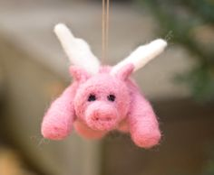 Needle Felted Pigasus Ornament  Flying Pig by scratchcraft on Etsy, $27.00