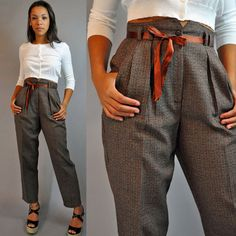 80s vintage High Waisted pants / PLAID TROUSERS Pleated Front High Waist w/ taper leg s / small