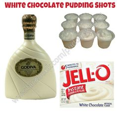 White Chocolate Pudding Shots.  See full recipe and more in the Flavors/Recipe's Photo Album & Time Line on www.facebook.com/puddingshots1.