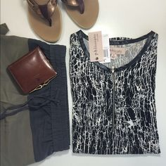HP Philosophy Sleeveless Top Crewneck sleeveless front zip closure top. A very classic looking top with faux leather trim, allover print, and a rounded hem. HOST PICK BOHO Babes Party 08/17/15 Last photo not mine. Philosophy Tops