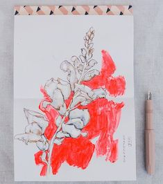 Snapdragons. Think I might stitch this one in fluorescent neoprene..... hmmmm. Just drawing and painting for now though.