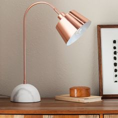 Copper Task Lamp with White Marble Base