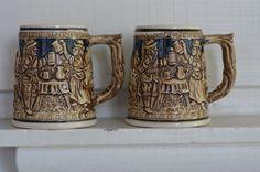 MINI Vintage Set MidCentury Mugs by Oldgreenlion on Etsy, $24.00