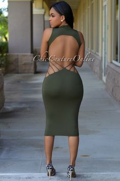 Chic Couture Online - Sabrina Olive Green Open Back Dress, (http://www.chiccoutureonline.com/sabrina-olive-green-open-back-dress/)