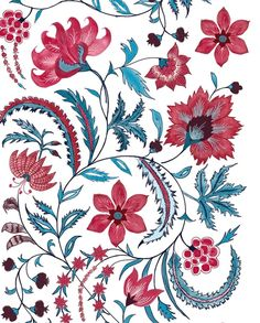 """Debby Tenquist on Instagram: """"FLORAL SCROLL, Incredible India Range,  WIP, A new design I am working on inspired by 17th Century Indian chintzes which I am obsessed with…"""" Folk Art Flowers, Flower Art, Chain Stitch Embroidery, Indian Prints, Print Patterns, Floral Patterns, Fabric Wallpaper, Fabric Painting, Textile Design"""