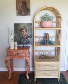 Vintage Large Bamboo Wicker Shelf with Drawers / Boho by Archival