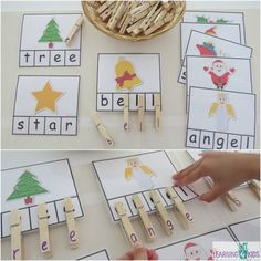 Printable Christmas word cards - great for a letter matching activity Peg a Christmas Word. 8 cards included in printable Christmas Printable Activities, Preschool Christmas, Kids Christmas, Christmas Crafts, Christmas Nativity, Toddler Learning Activities, Alphabet Activities, Kids Learning, Projects For Kids