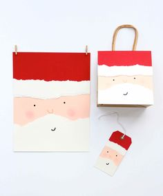 DIY Santa face giftwrap and cards