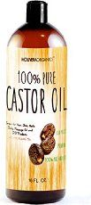 Molivera Organics Castor Oil 16 oz._. Premium Cold Pressed 100% Pure Castor Oil, Best Moisturizer for Skin & Hair, Eyelashes and Hair Growth, Triple Filtered, Great for Acne, UV Resistant BPA Free Bottle