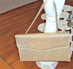 Gold Lame Holiday Evening Purse Glitter by outoftheattic2u on Etsy