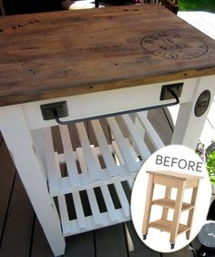 Fabulous rework on an inexpensive kitchen cart from Ikea. I want to do this with our butcher block table & our ikea coffee cart - - to make them seem like they match. Ikea Kitchen Cart, Ikea Cart, Ikea Trolley, Kitchen Ideas, Rental Kitchen, Kitchen Storage, Furniture Projects, Home Projects, Diy Furniture