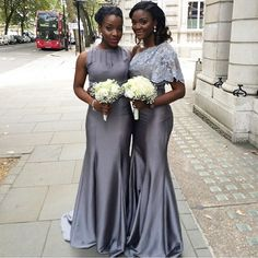 Gorgeous bridesmaids long dresses in gray for Nigerian wedding! Source: nigerian wedding on instagram. Dress by Taibeni. Bridesmaids bisola_o.