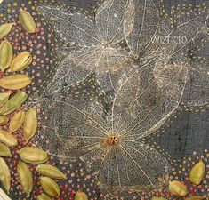 Hand embroidery, mixed media on grey silk. Tomatillo husks and cardamom pods…