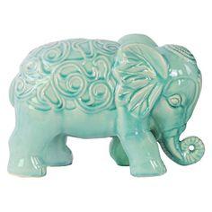 Urban Trends Ceramic Standing Elephant Figurine with Embossed Swirl Design Sky Blue - 79016