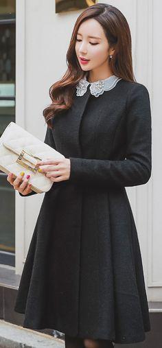 StyleOnme_Round Neck Belted Flared Coat #black #charcoal #coat #feminine #girly #koreanfashion #fall #winter #trend #seoul #kstyle