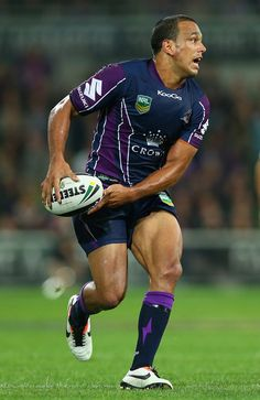 Will Chambers of the Storm looks to pass the ball during the round 5 NRL match between the Melbourne Storm and the Wests Tigers at AAMI Stadium on April 8, 2013 in Adelaide, Australia.