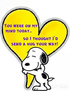 Cute hug and thinking you Peanuts Snoopy with heart. Heartfelt sentiment to family, friends, and others. Peanuts Quotes, Snoopy Quotes, Snoopy Love, Charlie Brown And Snoopy, Snoopy Hug, Charlie Brown Quotes, Snoopy Cartoon, Peanuts Cartoon, Hug Quotes