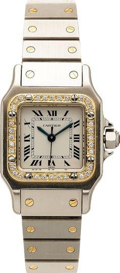 Cartier Lady's Diamond, Gold, Stainless Steel Santos | Lot #59001 | Heritage Auctions http://www.thesterlingsilver.com/product/cluse-la-boheme-rose-gold-black-ladies-watch-cl18001/